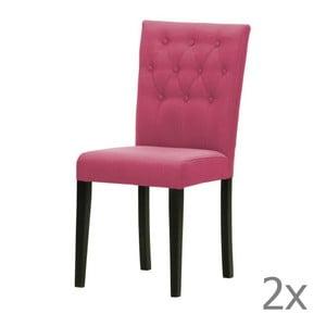 Sada 2 stoličiek Monako Etna Pink, čierne nohy