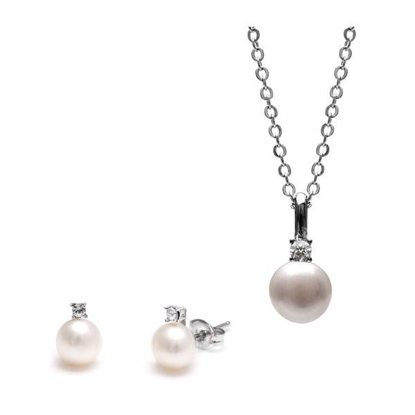 Sada náhrdelníka a náušníc s bielou perlou a Swarovského krištáľmi GemSeller Clussi