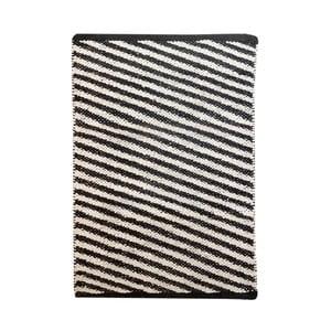 Čierno-biely bavlnený ručne tkaný koberec Diagonal, 140×200 cm