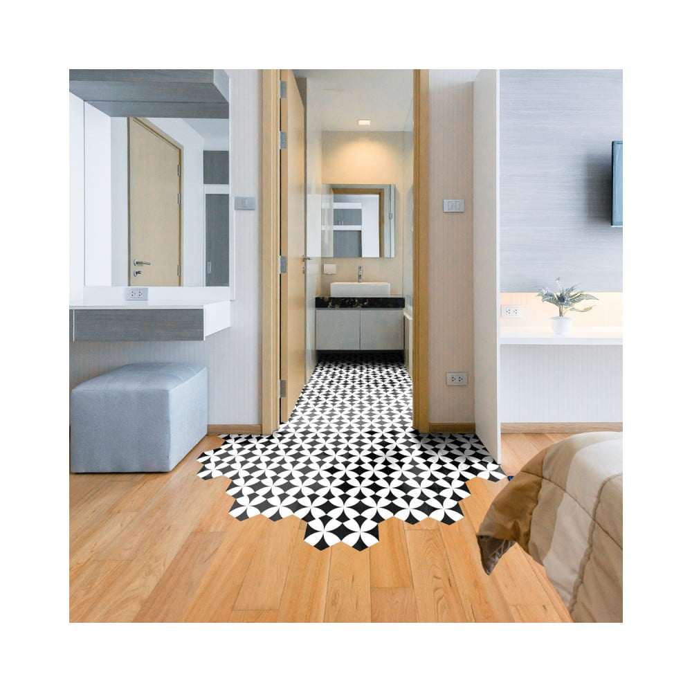 Sada 10 samolepiek na podlahu Ambiance Floor Stickers Hexagons Bernardo, 40 × 90 cm