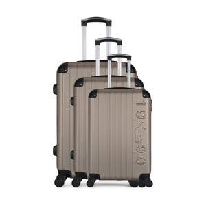 Sada 3 hnedobéžových cestovných kufrov na kolieskach GENTLEMAN FARMER Cadenas Integre