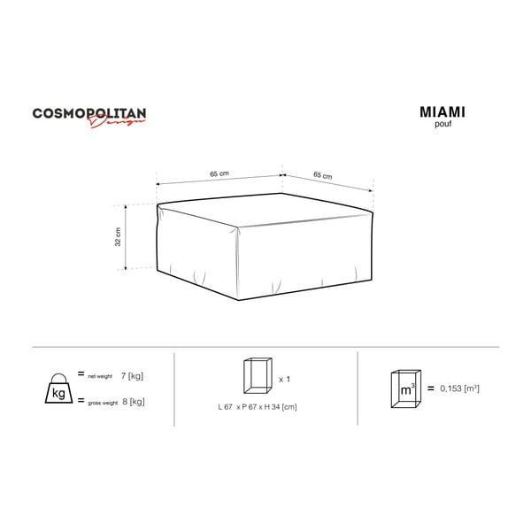 Sivý puf Cosmopolitan Design Miami, 65×65 cm