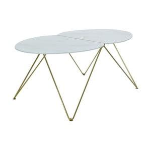 Konferenčný stolík s dekorom mramoru a podnožím v zlatej farbe RGE Ant