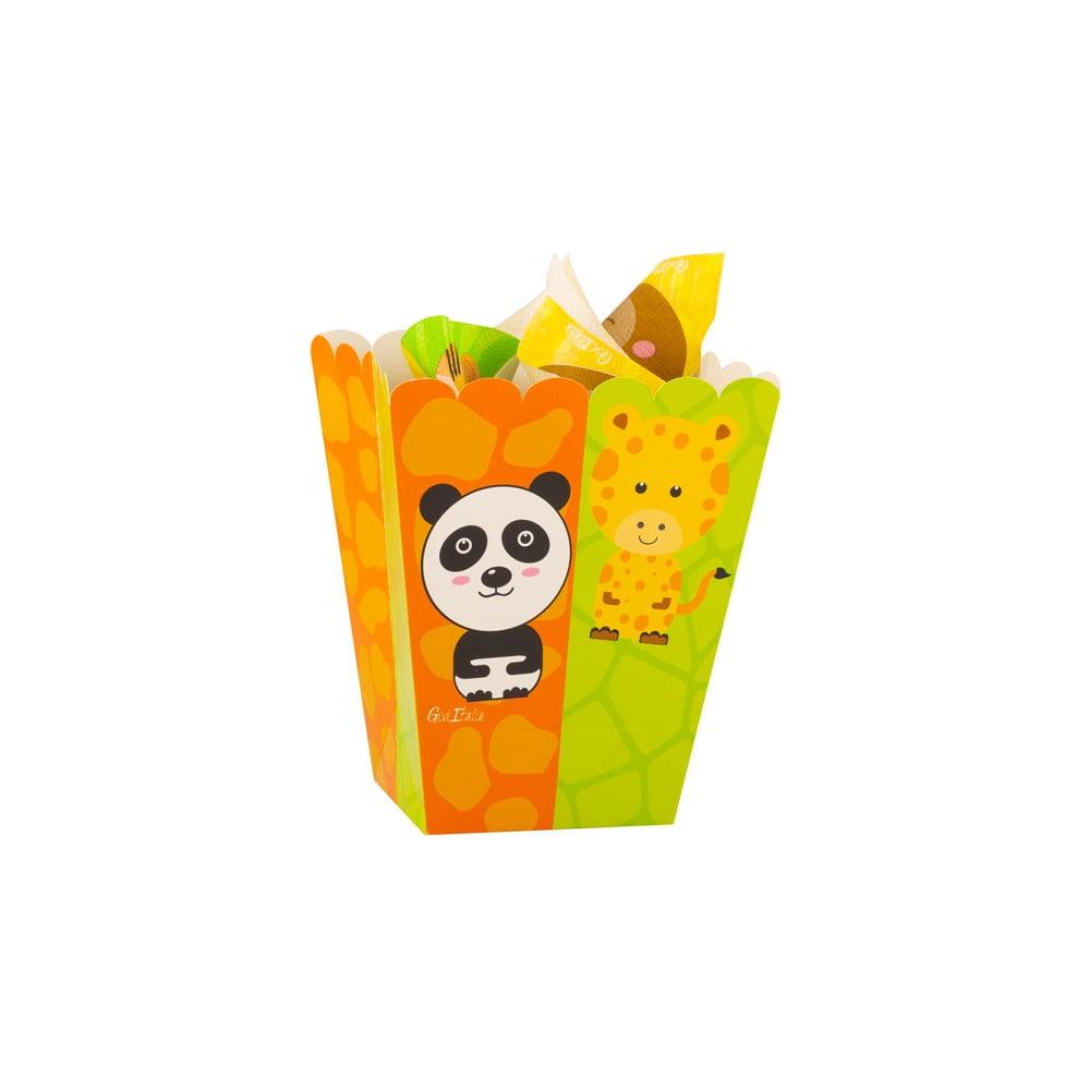 Sada 4 papierových boxov na popcorn GiviItalia Zoo Party, výška 15 cm