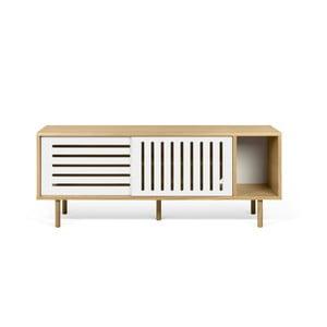 TV komoda v dekore dubového dreva s bielymi detailmi TemaHome Dann Stripes, dĺžka 165 cm