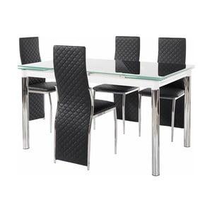 Set jedálenského stola a 4 čiernych jedálenských stoličiek Støraa Pippa William Puro Black
