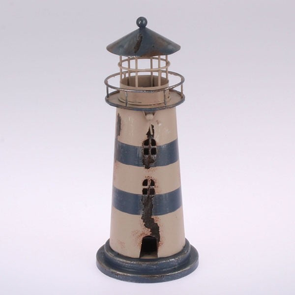 Kovový závesný svietnik Blue Lighthouse, 22 cm