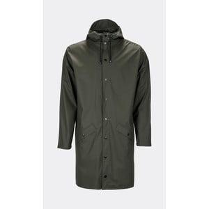 Tmavozelená unisex bunda s vysokou vodoodolnosťou Rains Long Jacket, veľkosť XXS/S