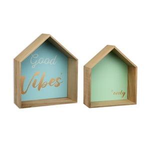 Sada 2 drevených nástenných políc Versa Houses Vibes
