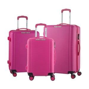 Sada 3 ružových cestovných kufrov na kolieskach Murano Vivienne