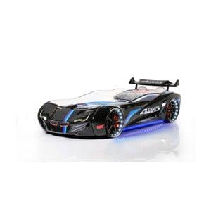 Čierna detská posteľ v tvare auta s LED svetlami Fastero, 90 × 190 cm