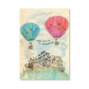 Plagát Touch The Sky Blue And Read, 30x42 cm