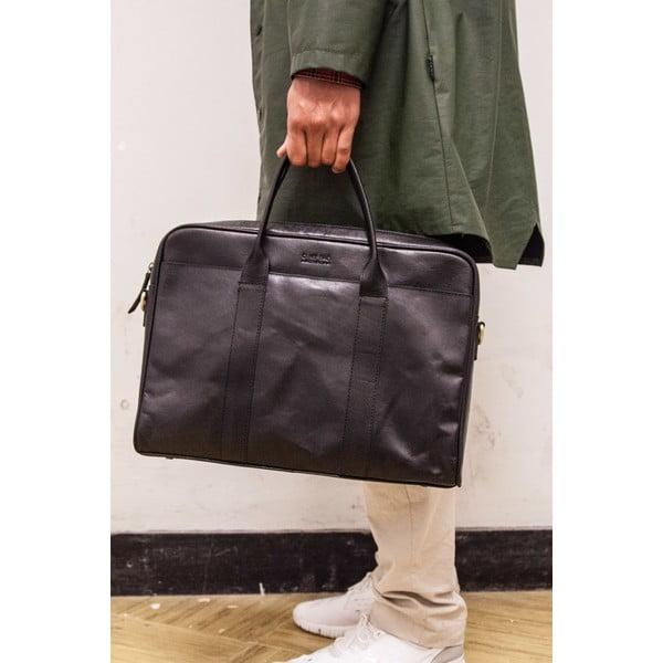 Kožená taška na notebook The Harvey, čierna