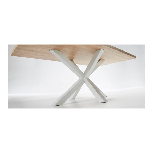 Biely jedálenský stôl s bielou podnožou La Forma Arya, 200x100cm