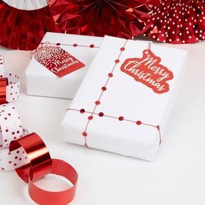 Sada 10 červených vianočných papierových visačiek na darčeky Neviti Merry Christmas Red & White Dots