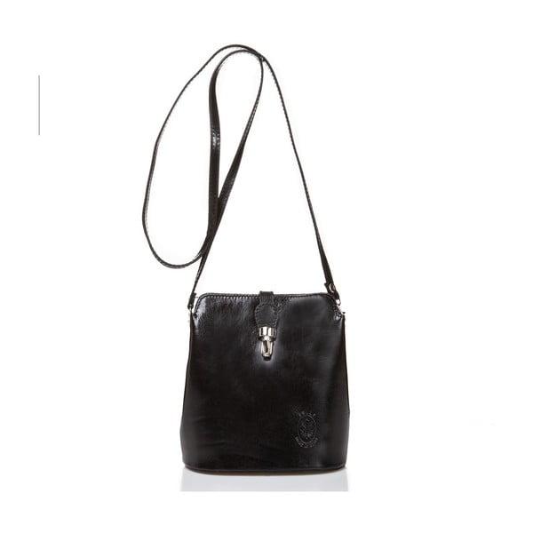 Čierna kožená kabelka Massimo Castelli Silverio