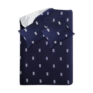 Modré obliečky Hawke & Thorn Finch Straw, 240 x 220 cm + vankúš 50 x 60 cm