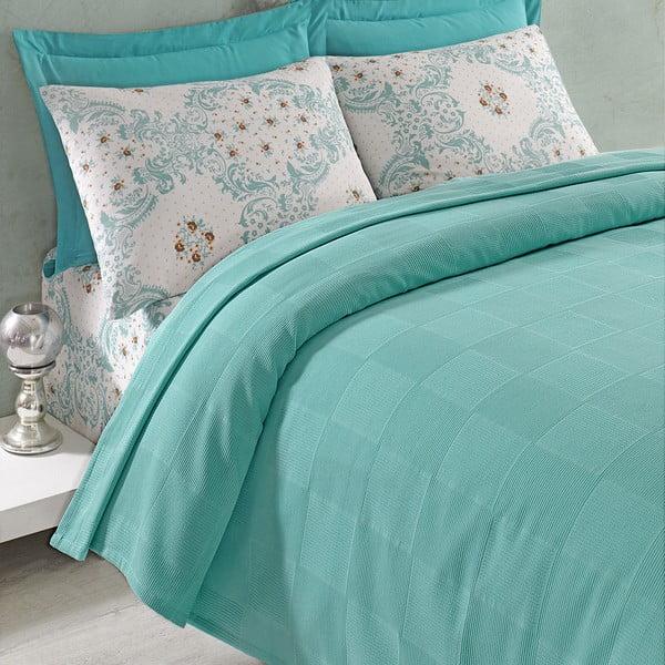 Sada prikrývky cez posteľ, plachty a 2 obliečok Ariete Green, 200x235 cm