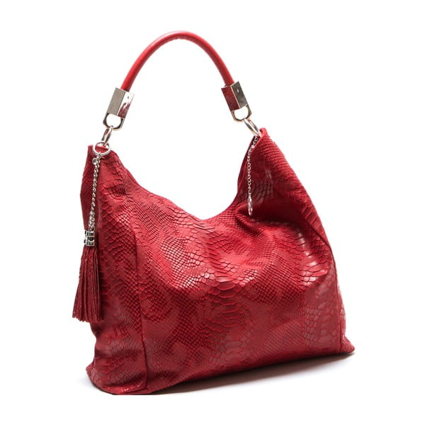Červená kožená kabelka Isabella Rhea Rosa