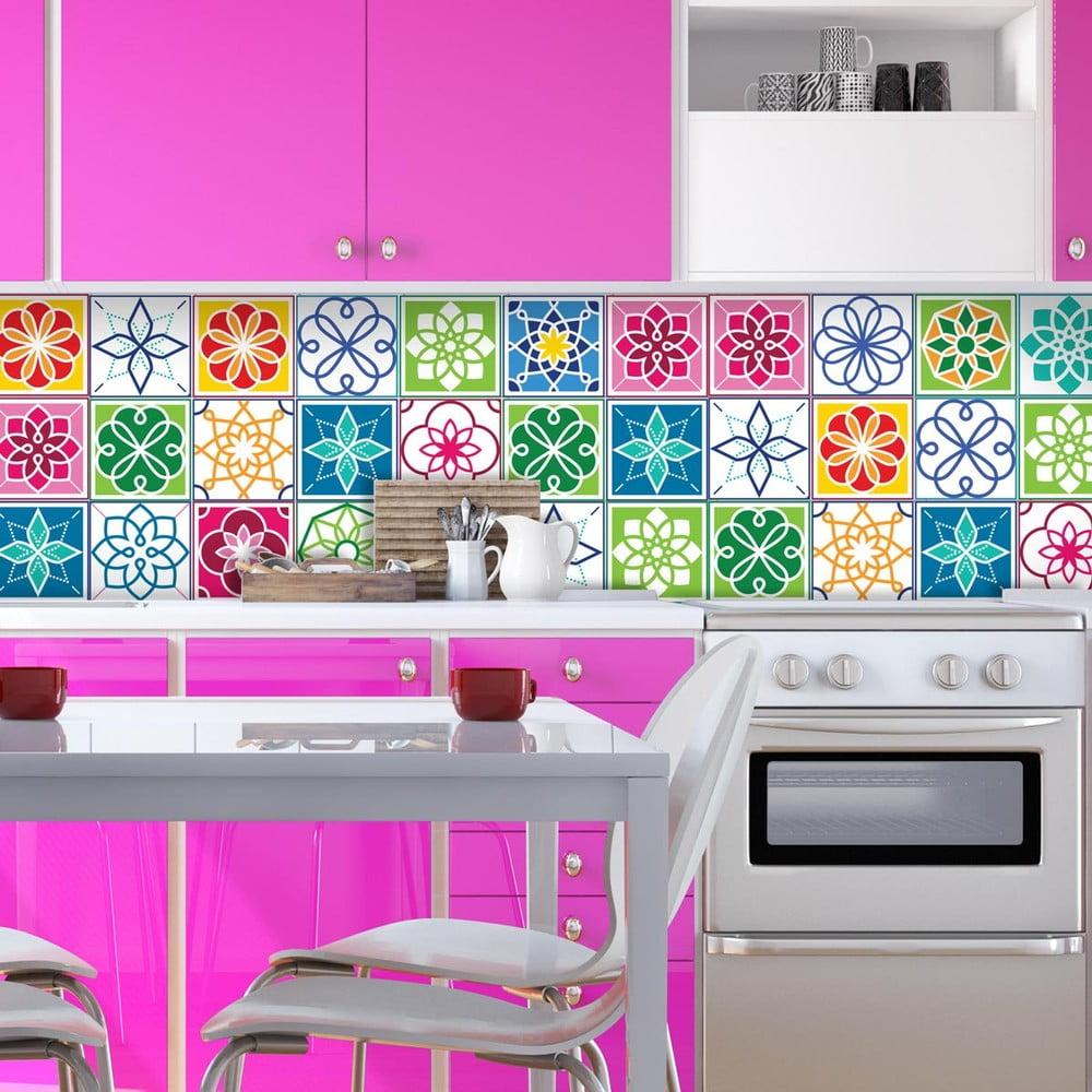 Sada 24 nástenných samolepiek Ambiance Wall Decal Cement Tiles Color Cartagena, 20 × 20 cm