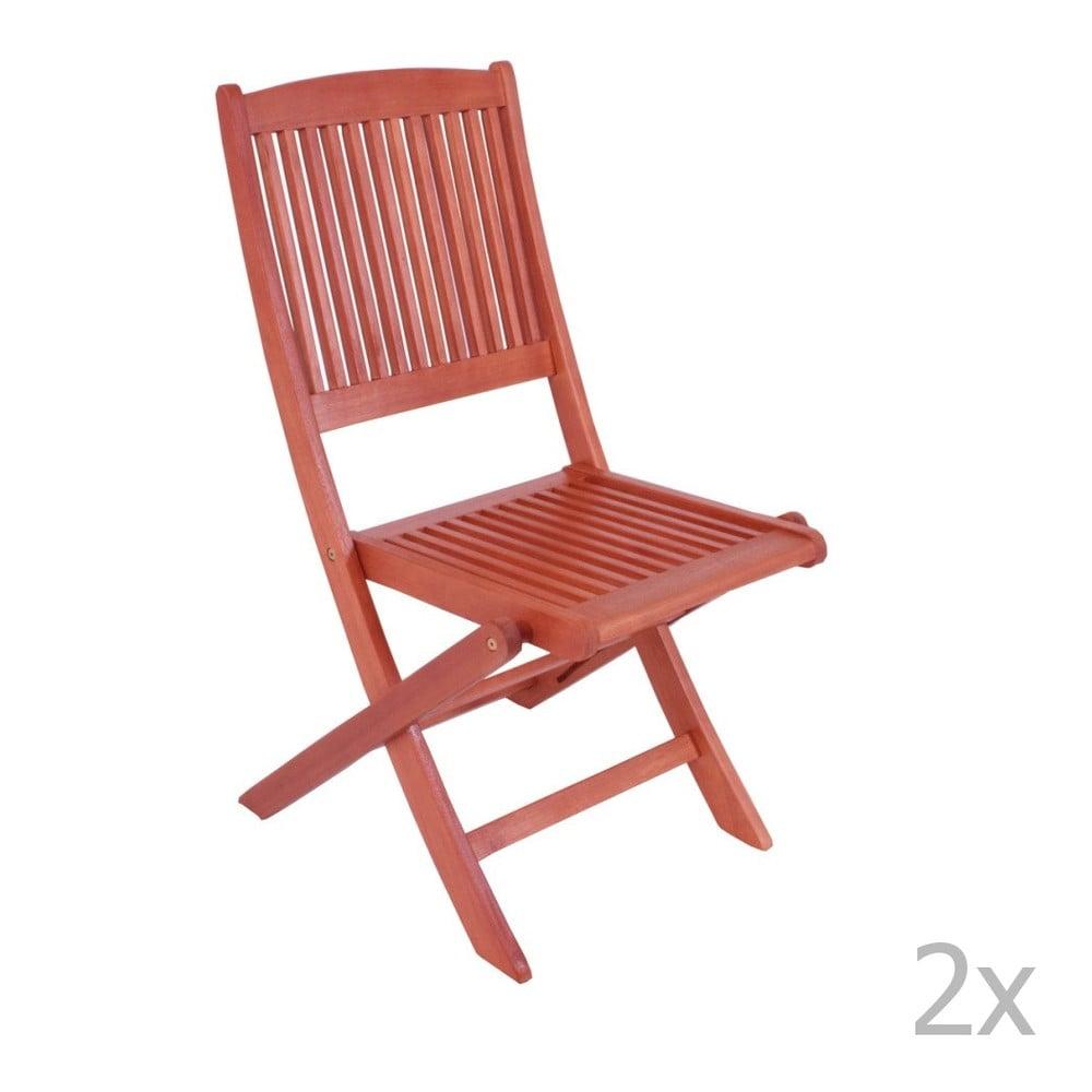 Sada 2 záhradných skladacích stoličiek z eukalyptového dreva ADDU Stockholm