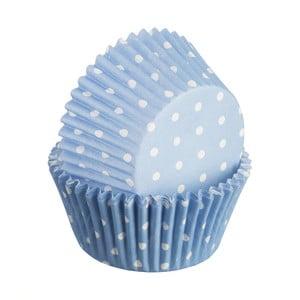 Sada 75 formičiek na cupcakes Polka, svetlomodrá