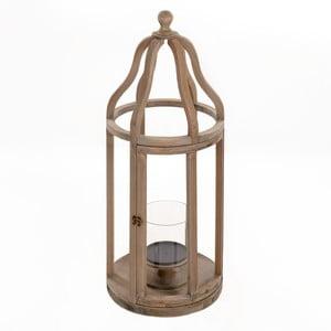 Drevený lampáš Beige, 32x83 cm