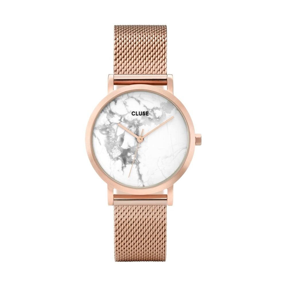 Dámske hodinky antikoro vo farbe ružového zlata s mramorovým ciferníkom Cluse La Roche Petite