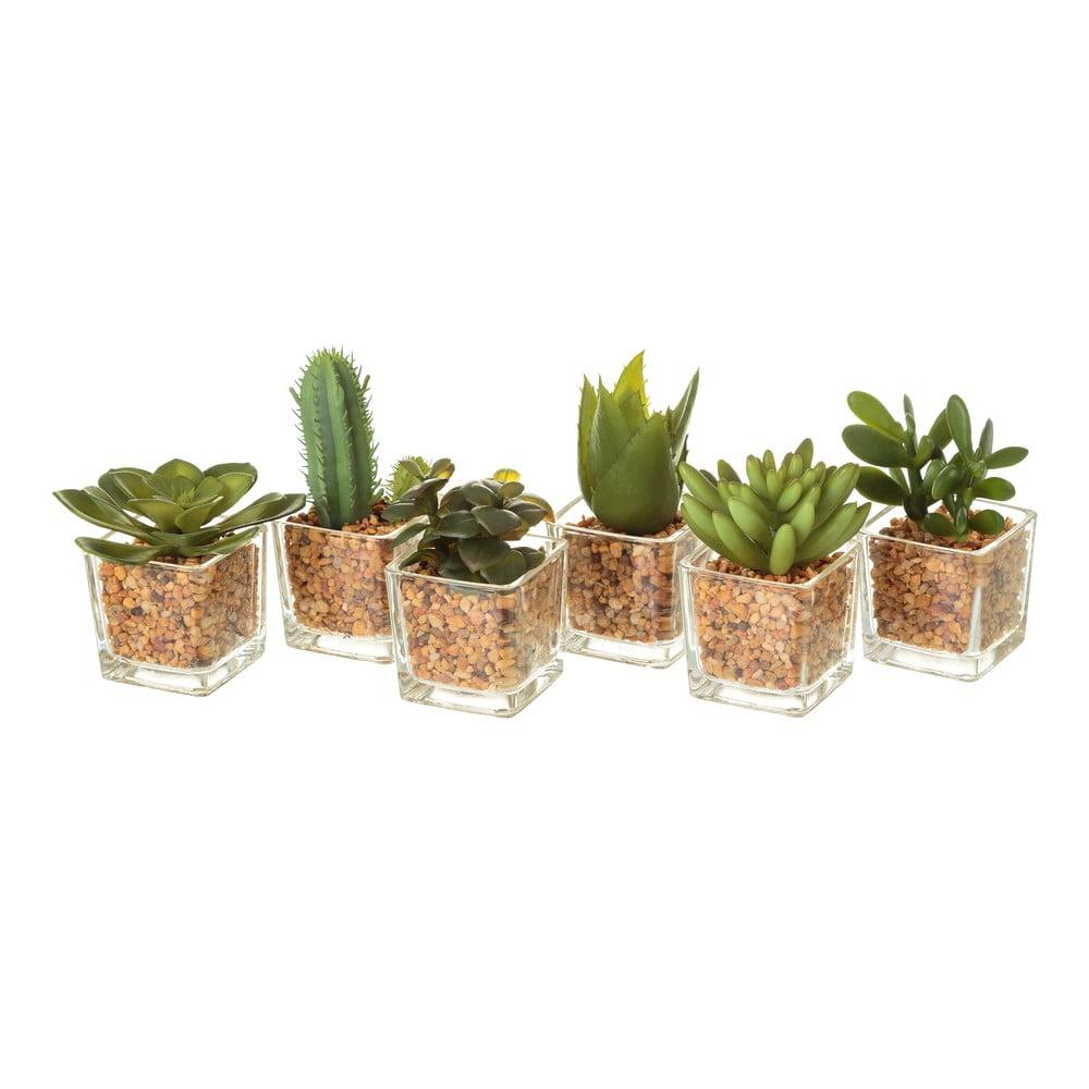 Sada umelých dekorácii v tvare kaktusov Unimasa, 6 kusov