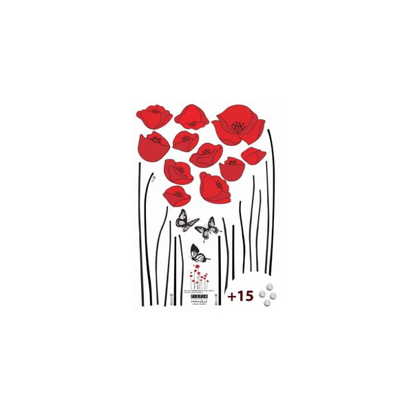 Set samolepky a 15 Swarovski krištáľov Ambience Red Poppies
