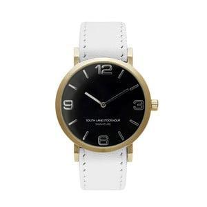Unisex hodinky s bielym remienkom South Lane Stockholm Signature Black Gold Big Leather