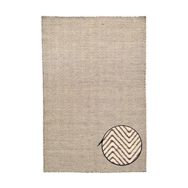 Béžový ručne tkaný koberec Kilim Chevron, 200x290 cm