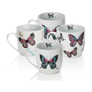 Sada 4 porcelánových hrnčekov Sabichi Mariposa, 350 ml
