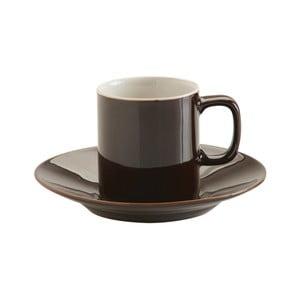 Čierny hrnček s tanierikom z kameniny Price & Kensington