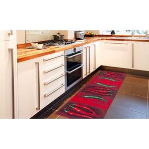 Vysokoodolný kuchynský koberec Webtappeti Peperoncini, 60 x 110 cm