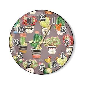 Sivé nástenné hodiny s kaktusmi The Mia