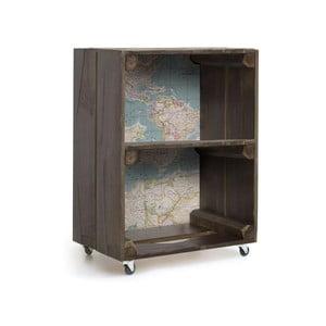 Hnedá komoda na kolieskach z borovicového dreva Really Nice Things Mapas, 40 x 39 cm