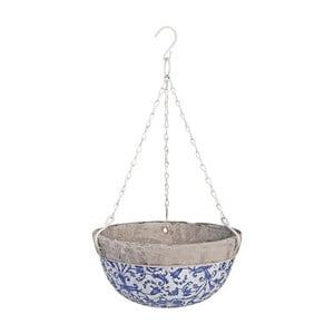 Modro-biely keramický závesný kvetináč Ego Dekor, 2,4 l