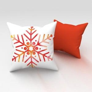 Oranžový vankúš Orange Snowflake, 43x43 cm