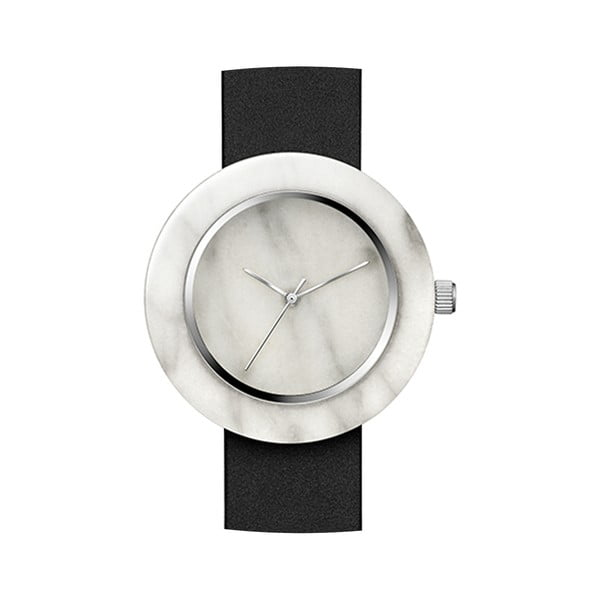 Biele mramorové hodinky s čiernym remienkom Analog Watch Co. Marble