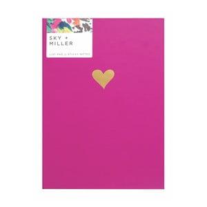Ružový poznámkový blok so sadou lepiacich papierikov Portico Designs Hearts, 60 strán