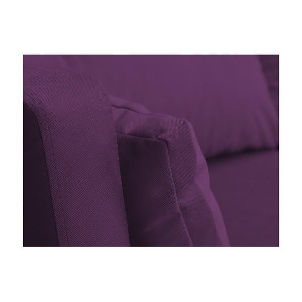 Tmavofialová trojmiestna pohovka Mazzini Sofas Elena, s leňoškou na ľavom rohu