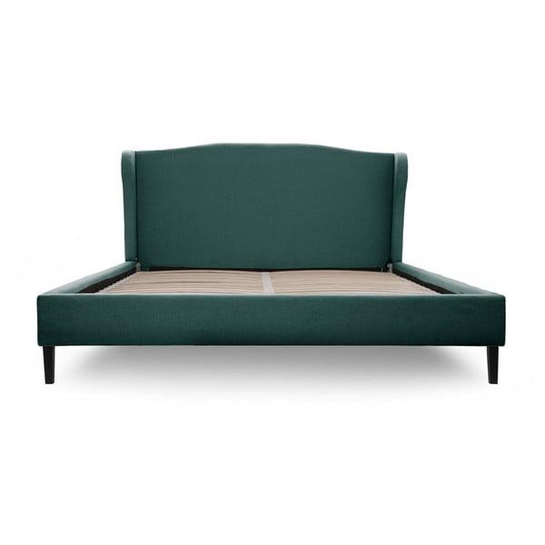 Modrozelená posteľ VIVONITA Windsor 180x200cm, čierne nohy