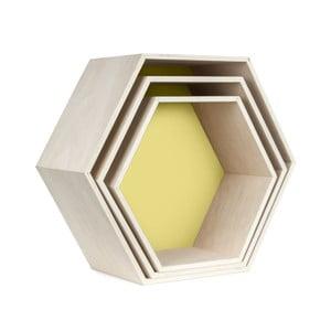 Sada 3 nástenných poličiek Hexagon, žltá