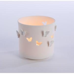 Porcelánový Svietnik Butterflies 9x9 cm, biely