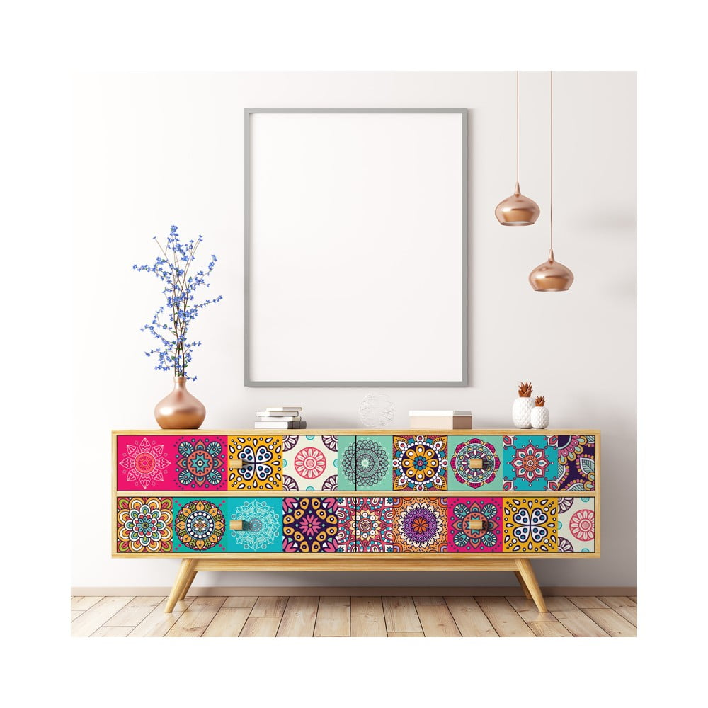 Sada 24 samolepiek na nábytok Ambiance Tiles Stickers For Furniture Coralina, 20 × 20 cm
