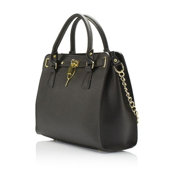 Čierna kožená kabelka Giulia Massari Clemency