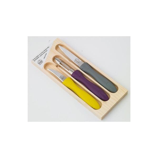 3-dielna sada nožíkov a škrabky v drevenej krabičke Jean Dubost