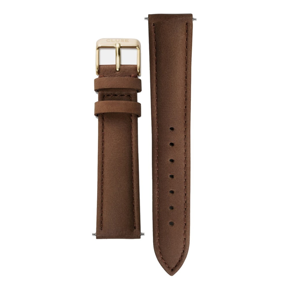 Hnedý kožený remienok s detailmi v zlatej farbe k hodinkám Cluse La Bohème