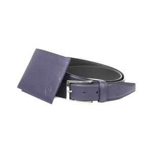 Pánsky darčekový set čiernej koženej peňaženky a opasku Trussardi Alfred